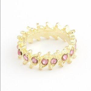 Gold & Pink Crown Gems Ring